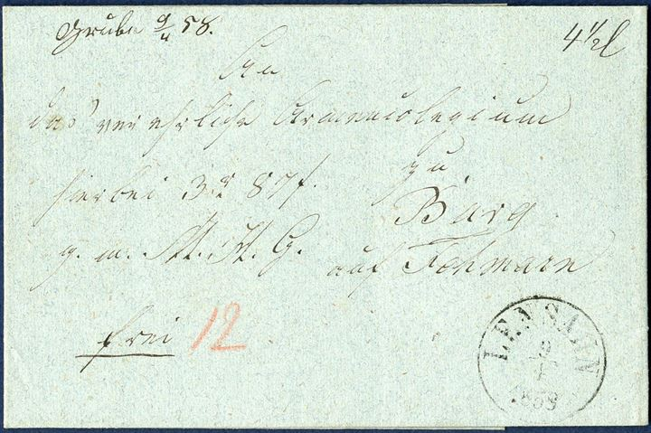 "Postal Money Order sent from Grube to Burg 9 April 1858, with 3 Rdl. 87 s. and paid in cash with 12 sk., weighing 4 1/2 loth. Town manuscript on front ""Grube 9/4 58"" and from 1.1.1857-31.3.1866 Grube was a small collecting office, located between Cismar and Oldenburg in the Duchy of Holstein."