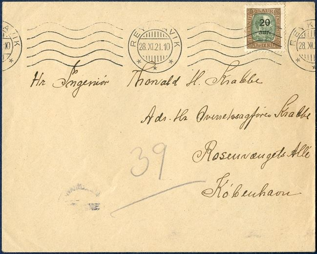 Letter sent from Reykjavik to Copenhagen 28 November 1921, bearing a 20aur/25 aur King Chr. X provisional, tied by Reykjavik machine cancel. Sent only 5 days after the date of issue. Postage 20 aur correct.
