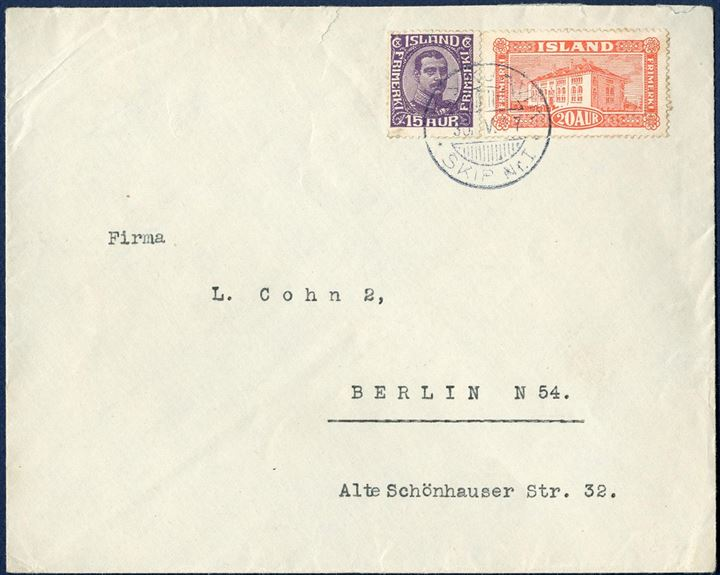 "Letter sent from Reykjavik to Berlin 30 May 1927 bearing a 15 aur Chr. X and 20 aur National Library building tied by the ship CDS ""REYKJAVIK SKIP Nr. I"", correct 35 aur postage."