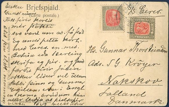"Postcard sent from Reykjavik to Nakskov 20 November 1910 bearing two 4 aur Two Kings issue tied by Reykjavik CDS. With manuscript ""S/S CERES"" and carried by the ship to Copenhagen."