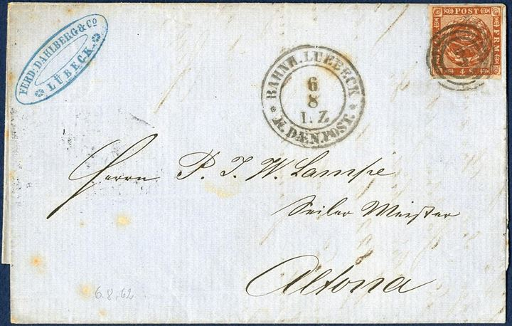 "Letter sent from Lübeck to Altona 6 August 1862 baring a 4 sk. 1858-issue tied by numeral ""3"" alongside two-ring ""BAHNH.LUEBECK * K. DÆN.POST 6/8 I.Z."""