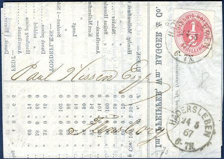 "Market-report sent from Haderslev to Flensburg 24 May 1867 bearing a 1/2 Sch. ""Schleswig-Holstein"" tied by 1-ring ""HADERSLEBEN 24 5 67  6-7N"". Correct postage."