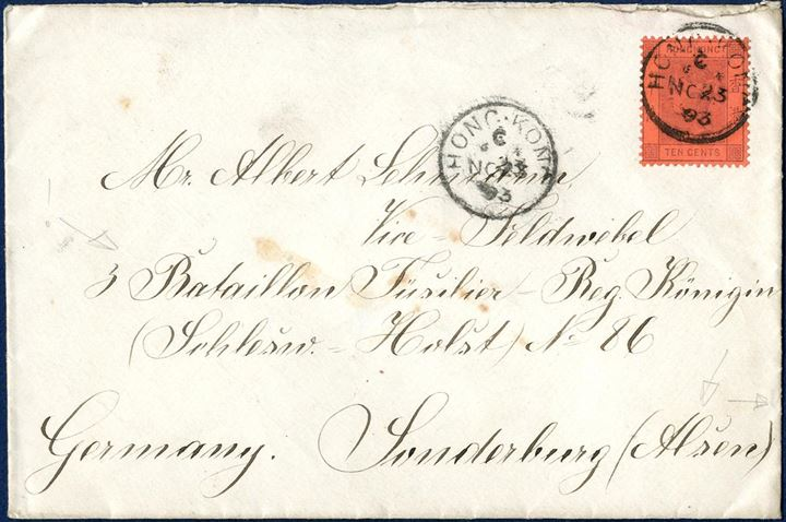 "Letter sent from Hong Kong to Sonderborg 23 November 1893 bearing a 10c Hong Kong stamp with 1-ring ""SONDERBURG"" arriving mark on back."