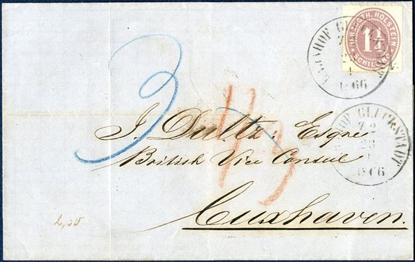 "Partly paid letter sent from Glückstadt to Cuxhaven 23 April 1866 bearing a 1 1/4 Sch. ""HERZOGTH.HOLSTEIN"" Mi. 20 tied by railway mark ""BAHNHOF GLÜCKSTADT Z2 23 4 1866"" and charged by the addressee for the postage from Hamburg to Cuxhaven by blue ""3"". Ritzebüttel transit mark on reverse."