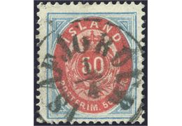 "50 aur bicolored oval issue a beautiful ""ISAFJÖRDUR"" date stamp. Rarely found in this quality."
