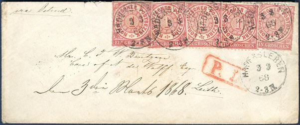 "Letter sent from Hadersleben via Ostende to Leith 3 March 1868 bearing 5 1 Gr. NDP tied by PER I-o ""HADERSLEBEN 3 3 68 2-3N."" DAKA 58.12. Unusual letter."