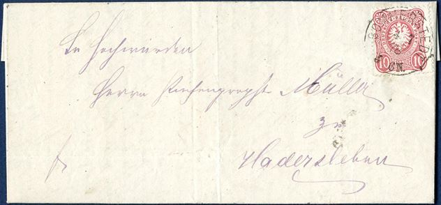 Official letter sent from Sommerstedt to Haderslev 4 July 1878 bearing a 10 DR pfennige tied by SOMMERSTEDT 4 7 78 3-6N PER I-o, DAKA 160.01a.