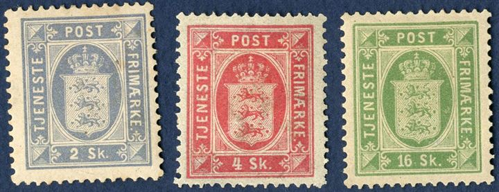 2 - 4 - 16 Sk. Official Issue, mint hinged. Very fresh set.