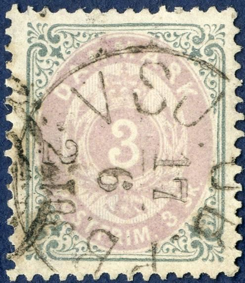 3 sk. bicoloured II printing with INVERTED FRAME position A-90 in excellent condition. Very scarce stamp.