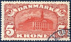 5 Kr. Central Post Office 1915 with watermark cross. Very light and small corner cancellation.