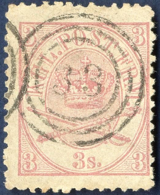 3 sk. lineperforated 12 1/2 1864-Arms type lightly cancelled.