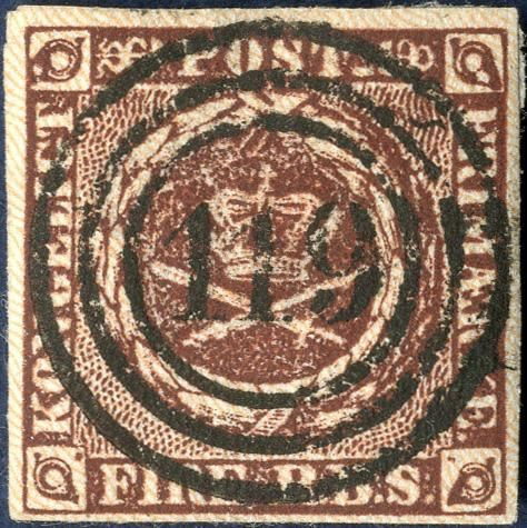 4 Rigsbankskilling Thiele II blackish brown, with numeral 119 Itzehoe. Superb centered numeral cancellation.