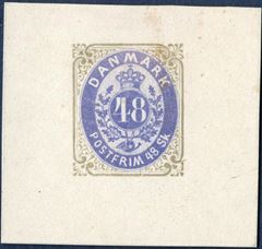 48 Sk. colour Essay olivegrey/ultramarine, AFA 21F, good margins.