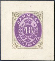 48 Sk. colour Essay olivegrey/purple, AFA 21F, normal margins.