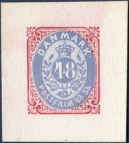 48 Sk. colour Essay red/dull blue, AFA 21F, normal margins.