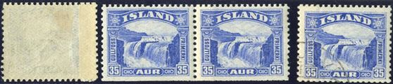 35 aur Gullfoss slot-machine stamps – and all with joints preserved, in mint, mint pair and a quite spectacular, a used copy making this an all unique set.