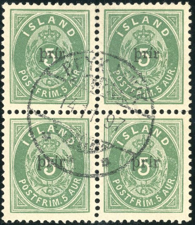 "Block of four with Provisional Ze-tenant Prir SMALL / LARGE overprint perforation 12 3/4, cancelled with ""REYKJAVIK 14.11.1897"" CDS. Only 3-4 used blocks of four recorded, this could well be the best preserved and well centred stamps and nicely cancelled."