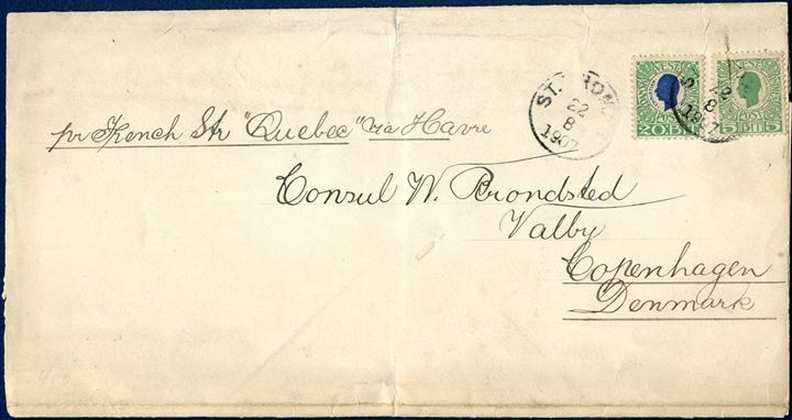"Printed Matter Wrapper Band sent from St. Thomas to Copenhagen 22 August 1907 on ""pr. French steamer ""Quebec"" via Havre"" in manuscript with Copenhagen arrival mark 9.9 on reverse. 25 BIT pays for 5th weight class of printed matters, extremely scarce letter with the Kings issue."