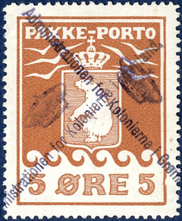 "5 øre Parcel Post I printing 1905 cancelled twice with line mark ""Administrationen for Kolonierne I Grønland"", excellent centring."