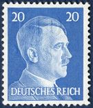 "20 pf. Hitler 1943 with embossed printing ""FELD POST"", apparently made in Aarhus, Denmark. Scarce."