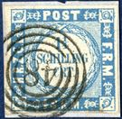1 1/4 Schilling ultramarine, narrow waves on piece. Cancelled with the very different looking four-ring cancel WESSELBUREN
