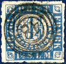 1 1/4 Schilling blue/rose rouletted issued. Cancelled with the very different looking four-ring cancel WESSELBUREN.