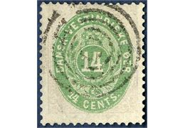 14 cents bicolored, cancelled with a clear strike of the wedge type  5-ring cancel. Very fine quality.