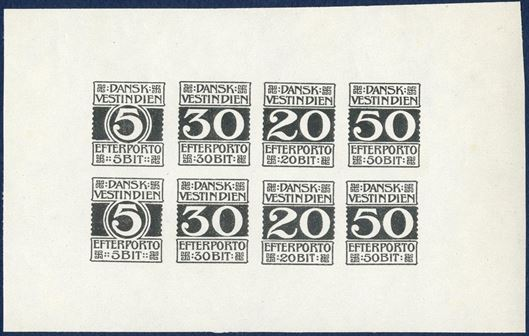 Postage Due imperforate black proof sheet of eight, with two rows of 5, 30, 20 and 50 BIT, on white paper with full gum.