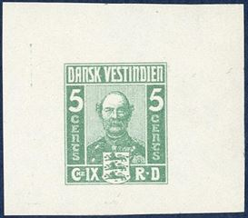 King Christian IX, imperforate colour essay, green colour with wide margins, with gum. Considered to be the work of Alfred Jacobsen.