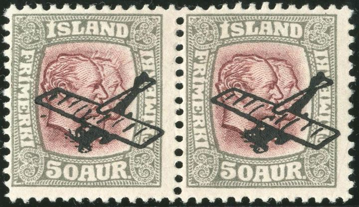 50 aur air mail Two Kings issue with airmail surcharge, left stamp with King Chr. IX hair RETOUCHED, extremely rare variety, hinged.