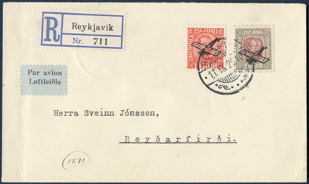 "50 aur air mail Two Kings issue with airmail surcharge, on registered air mail letter, with variety ""Tail of plane broken"" and colour dot in L in ISLAND."