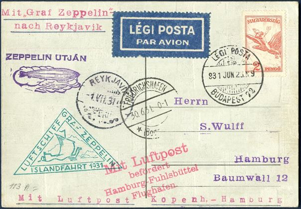 "Postcard sent from Budapest 23 June 1931 to Hamburg with ""Graf Zeppelin"" passing through Reykjavik, with Friedrichshafen and Reykjavik Transit marks and ""Icelandfahrt 1931"" cachet on front. Attractive piece."