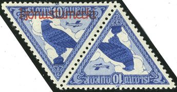 "10 aur Airmail Parliament 1000 years, official stamp overprinted ""Pjonustumerki"" in pair. Variety with only one of the stamps overprinted. As far as I have found out, such a pair has not previously been reported."