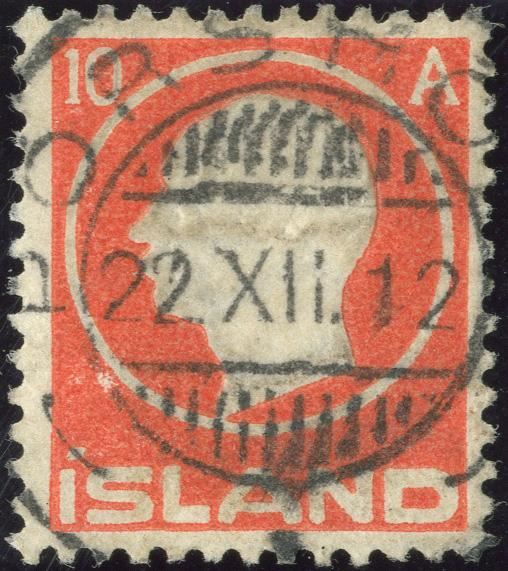 "10 Aur King Frederik Embossed issue, cancelled ""TORSHOFN 22.12.1912""."
