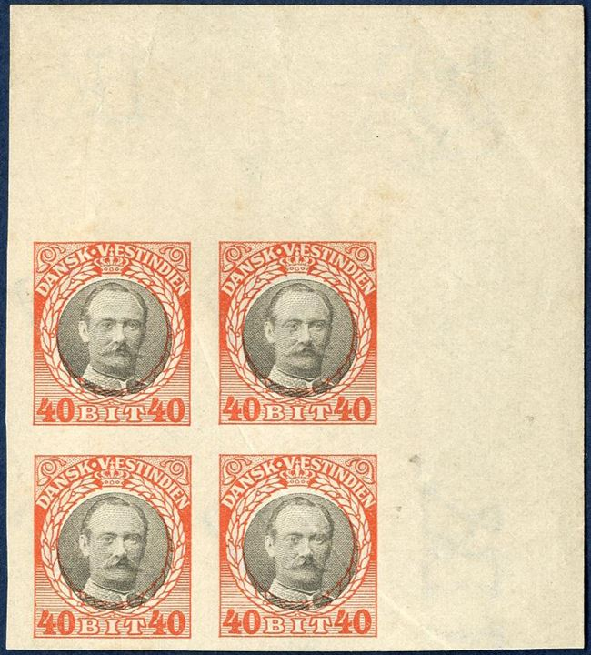 King Frederik VIII 40 BIT PROOF, imperforated corner sheet margin block of four, with watermark crown, without gum. Rare.
