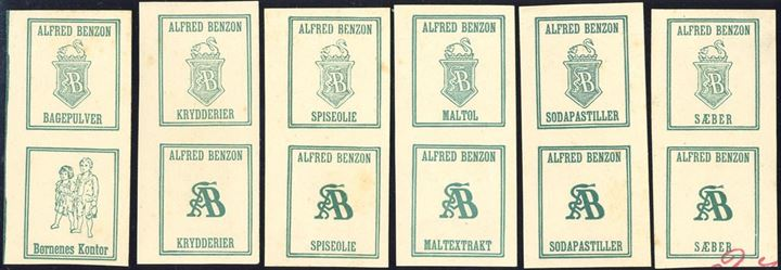Alfred Benzon proofs for advertising booklets, 6 vertical pairs on thick paper, imperforate.