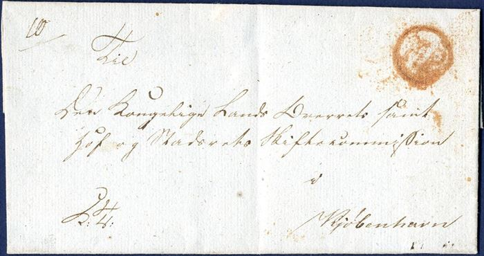 "Royal Service Lettter sent with Copenhagen Foot Post from Bornholm 13 September 1819. On reverse list number ""8-"" and on front ""10"" Copenhagen foot post listing. Stamped with RED circular ""FP"". DAKA 4B, ONLY RECORDED IN RED. Red ink indicate receiver to pay the postage, 8 sk. as indicated on reverse."