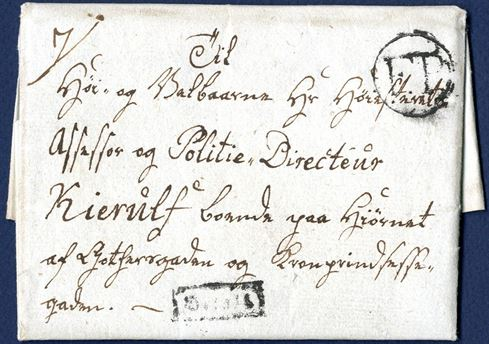 Footpost letter sent within Copenhagen on 9 August 1820. A new type IV footpost cancellation was put into use in 1820 which had two large capital letters F.P. within a circular ring. This cancellation stamp relieved both types II and III as the procedure of stamping unpaid letters with a red cancellation was stopped. Because of this, letters in 1820 often had a manuscript frit or betalt - meaning paid. The footpost office also had a framed BETALT in Gothic letters. Only recorded BETALT footpost cancellation