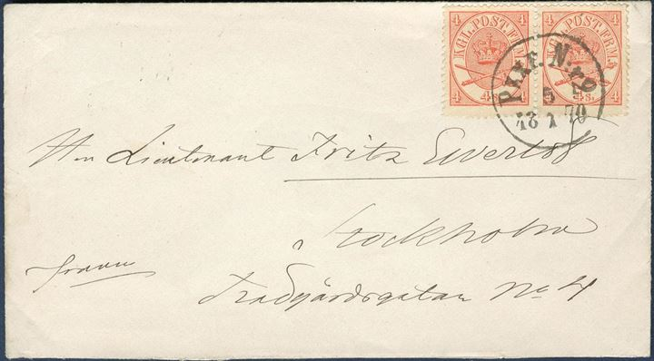 "Letter sent to Stockholm from Denmark 5 January 1870 bearing two 4 sk. 11 Printing tied by Swedish CDS ""PKXP N:R2 - 5.1.1870"" tying the 4 sk pair, paying the 8 sk. rate to Sweden. Excellent quality."