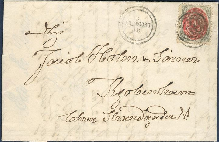 "Letter sent from Silkeborg to Copenhagen 27 July 1872 bearing a 4 sk. bicolored issue, tied by the rare ""SILKEBORG J.B."" two-ring stamp and alongside, also stamped with numeral 225. 4 sk. with small faults, however very few examples of this rare postmark are known on cover."