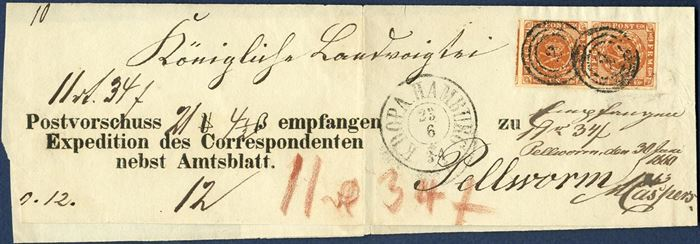 "COD sent from Hamburg to the Isle of Pellworm 23 June 1860 on WRAPPER BAND bearing a pair of 4 sk. I printing wavy-line issue tied by Hamburg numeral ""2"" alongside two-ring CDS ""KDOPA HAMBURG"". COD for ""11 Rthl 34 S"", fee ""12"" sk. noted and paid in cash, red crayon ""11 R 34S"" collected from the addressee. A rare postal document and exceptionally with a pair."
