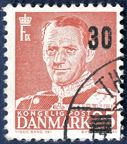 Frederik IX 30/25 øre with DOUBLE OVERPRINT cancelled Thisted 14 June 1956. Very scarce overprint error - Originally part of a pair.
