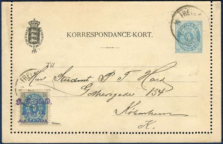 "4 øre Correspondence-Card with additional 4 øre bicolored, with one of the stamps stamped by 3-line ""P. F. Hald, Algade 13, AALBORG"", an early example of perfin !"