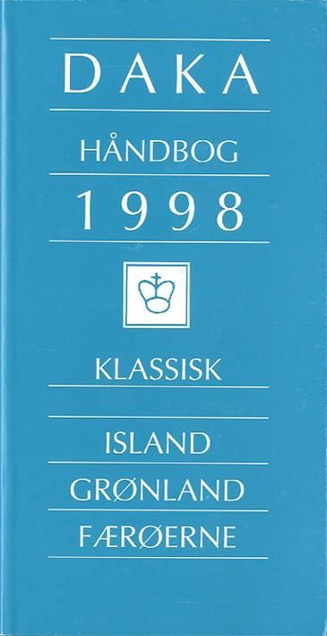 DAKA Classic North Atlantic 1998Comprehensive catalog of Iceland, Greenland and Faroes. Iceland to 1918, Greenland to 1958, Faroes until 1945; stamps, postmarks, frankings, postal history. The Iceland chapter has updated data on covers to foreign destinations, postmarks, crown marks, prices for numerals on different stamps, prices for numerals on cover. In Danish and English. 208 pages.Postage to be added, request price.