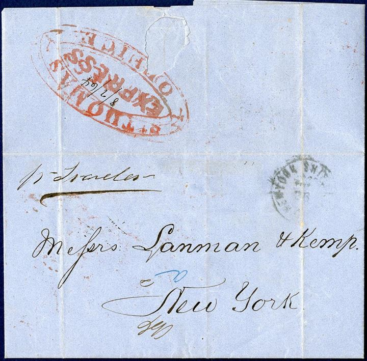"Letter sent from St. Thomas to New York, stamped with red ""ST. THOMAS - OFFICE - EXPRESS"" in red, dated 8 February 1864."