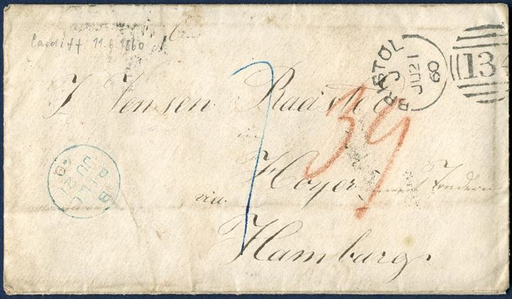 "Letter sent to Høyer (Tondern) in the Duchy of Schleswig from Bristol 21 July 1860, charged 39 sk. due at the addressee, with ""7"" Sgr. foreign share."