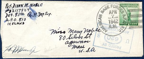US APO 810 wrapper band sent from APO 810 in Iceland 7 April 1942, bearing a 1c US stamp, tied by APO 810 cancel and stamped passed by Censor.