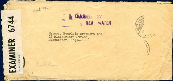 "Censored letter from Reykjavik to Manchester MARCH 1942, with stamps missing and stamped ""DAMAGED BY - SEA WATER""."