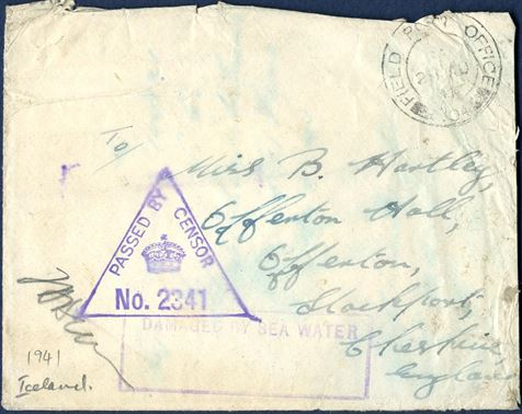 "FPO 304 letter sent to Cheshire, stamped 2- August 1941, and stamped ""DAMAGED BY SEA WATER""."