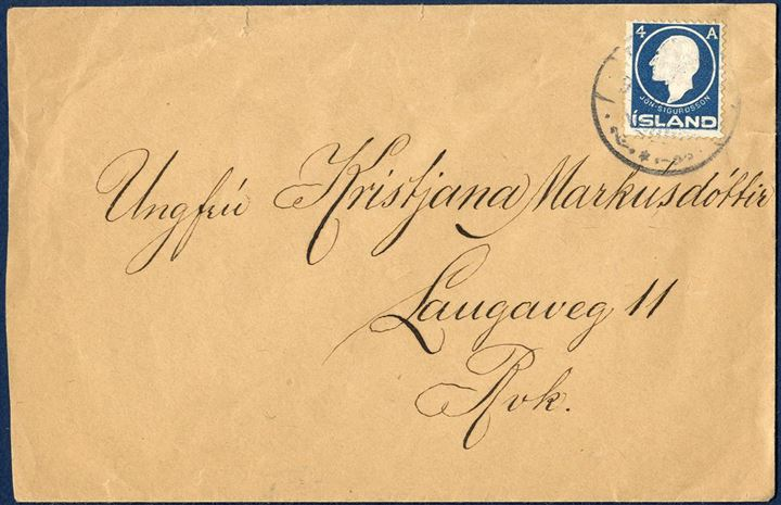 Local letter Reykjavik franked with 4 Aur Jon Sigurdsson embossed issue.